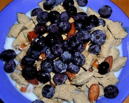 whole grains with blueberries